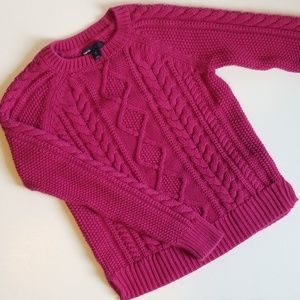 GAPKIDS XL 12 MAGENTA CABLE KNIT SWEATER